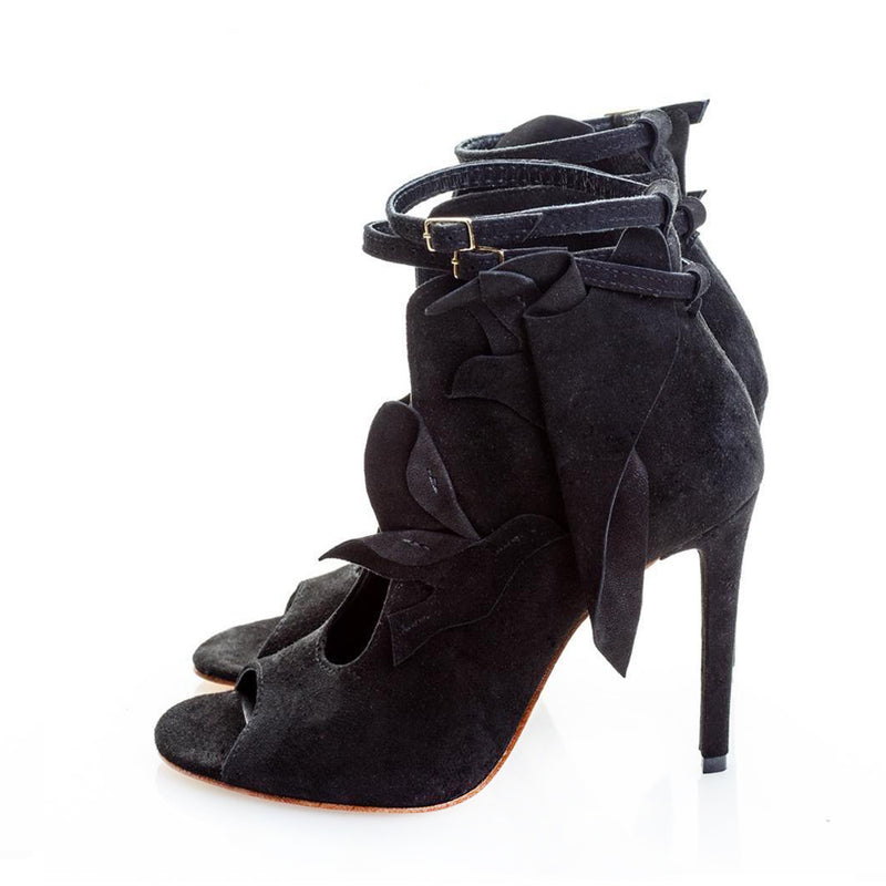 Seagulls Cutout Black Suede Booties