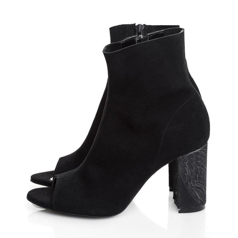 Queen of Hearts Black Suede Booties