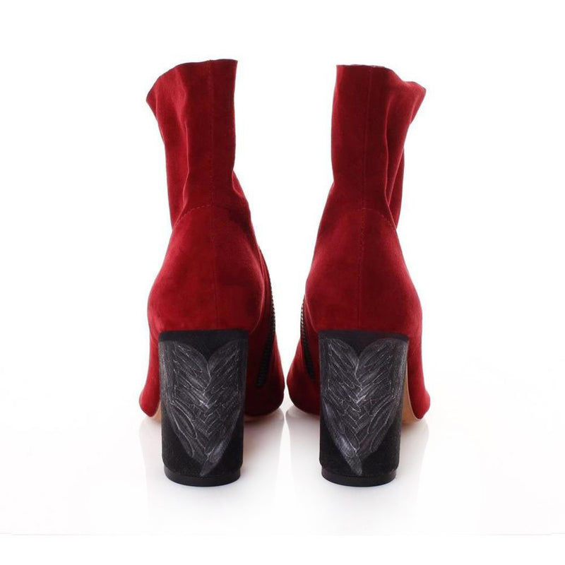 Queen of Hearts Red Suede Bootie