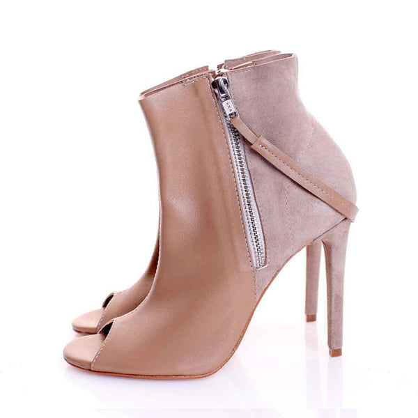 Double Zipper Beige Cutout Booties