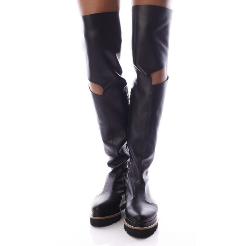 Overknees Cut-out Black Boots