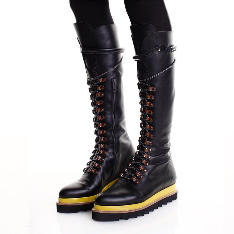 Yellow Touch Black Boots