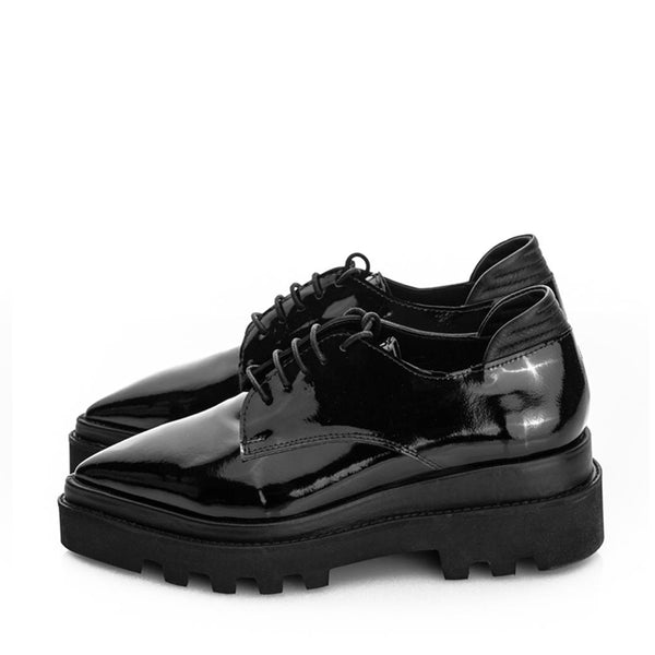 Glossy Black Flat Shoes