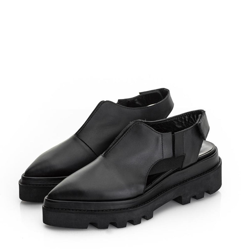 V-Cut Black Shoes