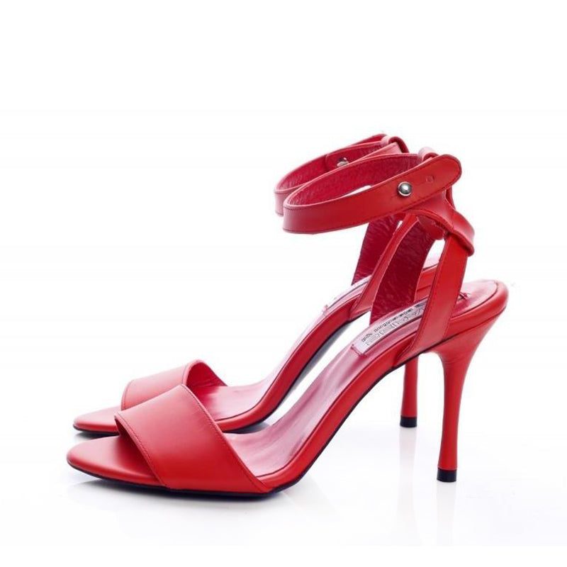 Wide Strap Red Sandals