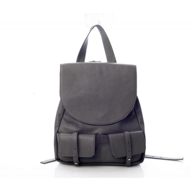 Double Pockets Grey Backpack