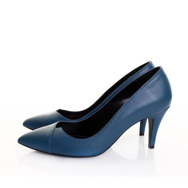 V-Cut Blue Pumps