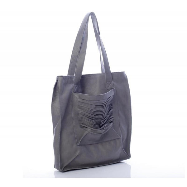 Grid Pocket Grey Tote Bag