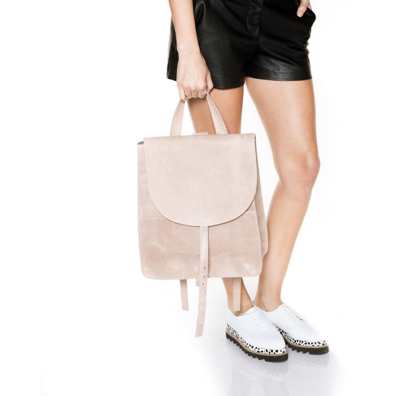 Simplicity Beige Leather Backpack