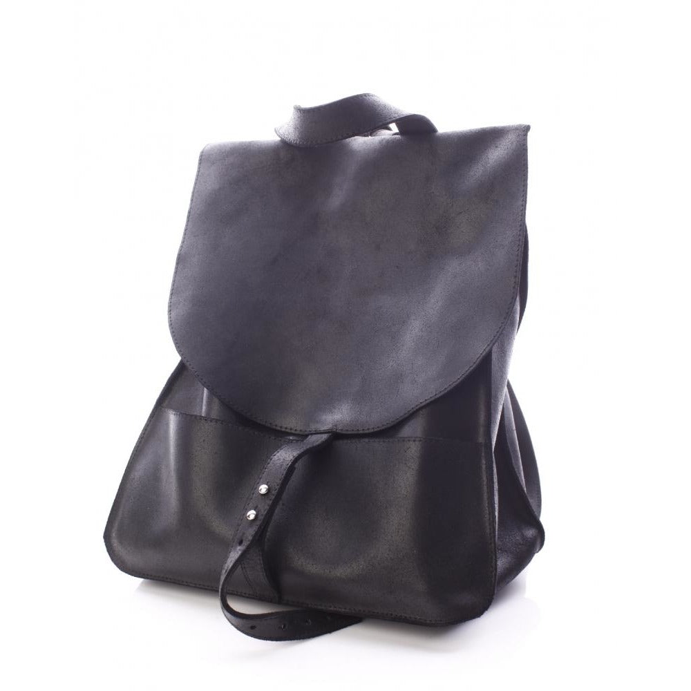 Simplicity black leather backpack