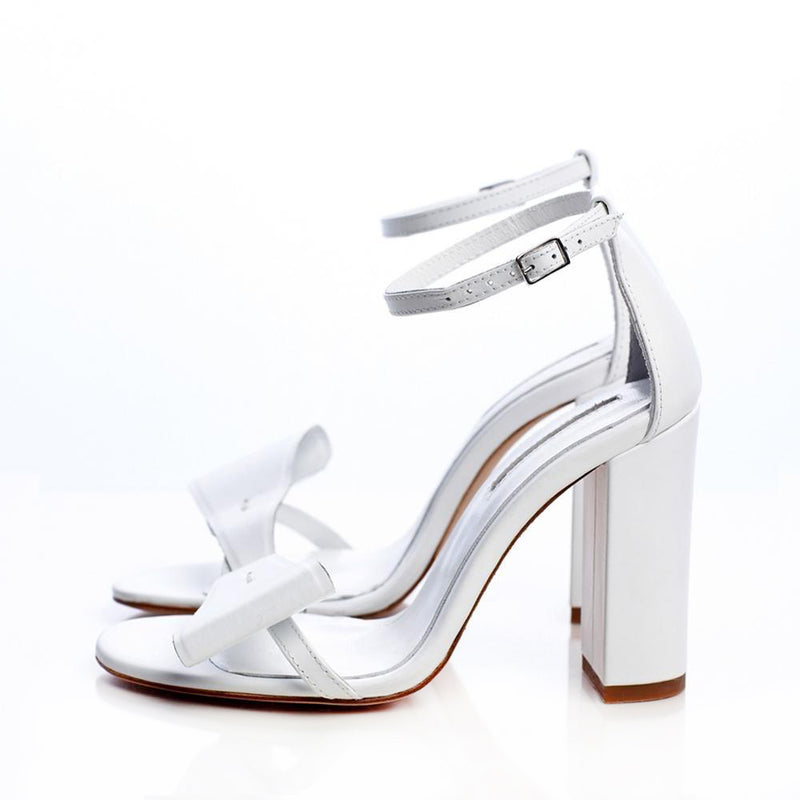Take A Bow White Sandals