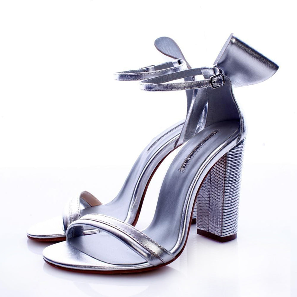 Back To Bow Silver Sandals