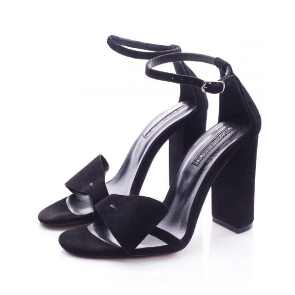 Honest Bow Black Suede Sandals
