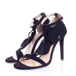 Strappy Flower Black Suede Sandals