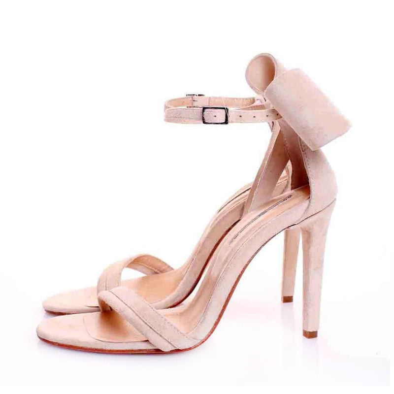 Back to Bow Nude Suede Sandals