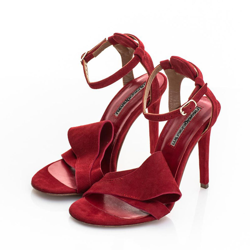 Honest Bow Red Suede Sandals