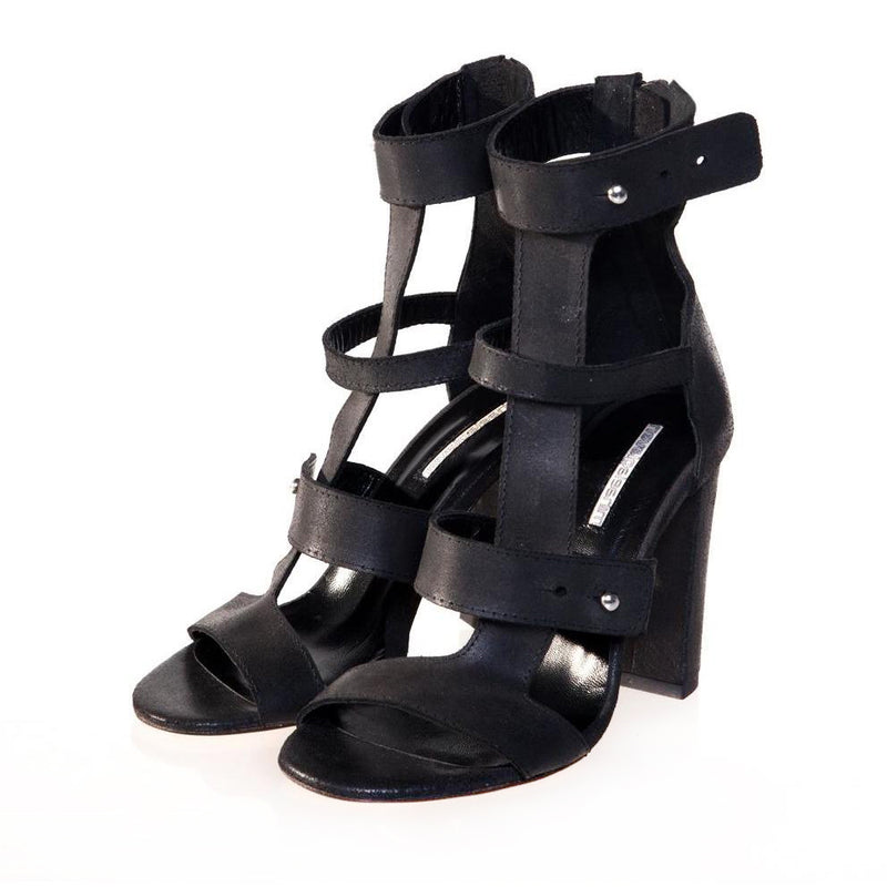 T-Strappy Black Sandals