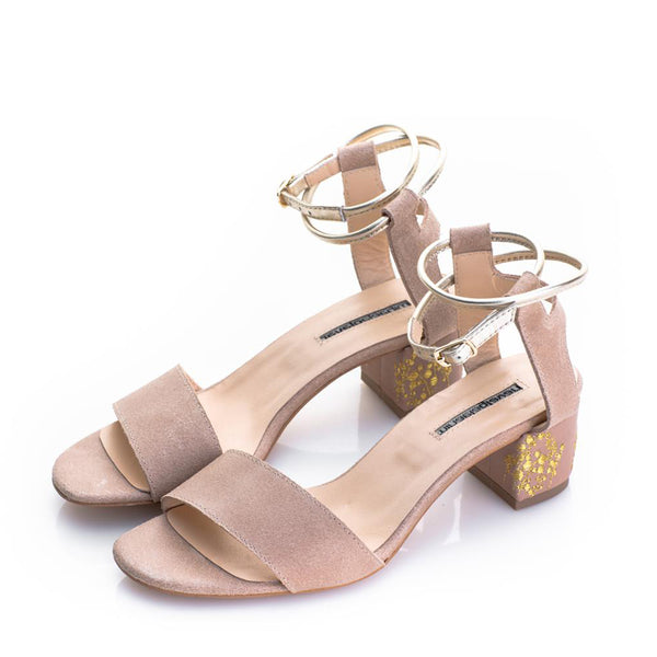 Lily of the Valley Suede Nude Sandals