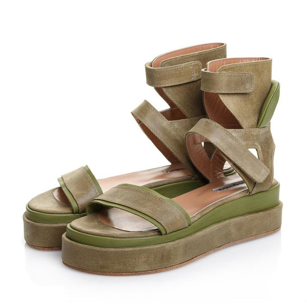 Ankle Hug Kahki Sandals