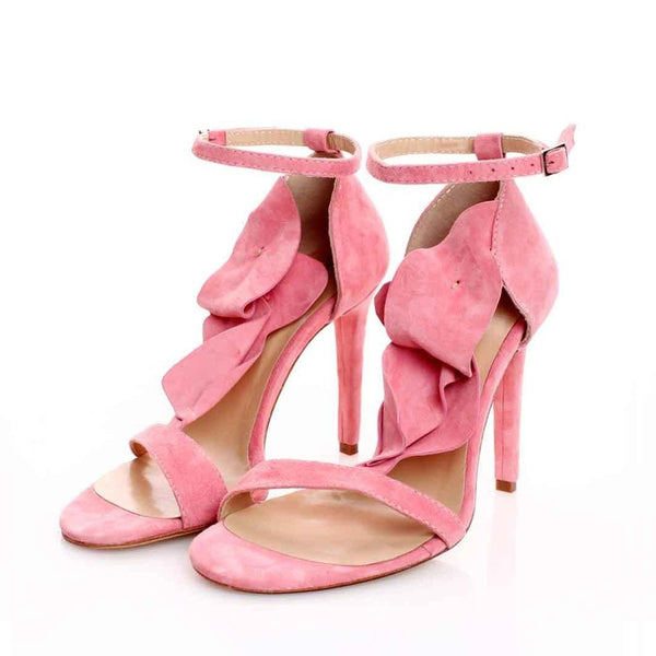 Strappy Flowers Pink Suede Sandals