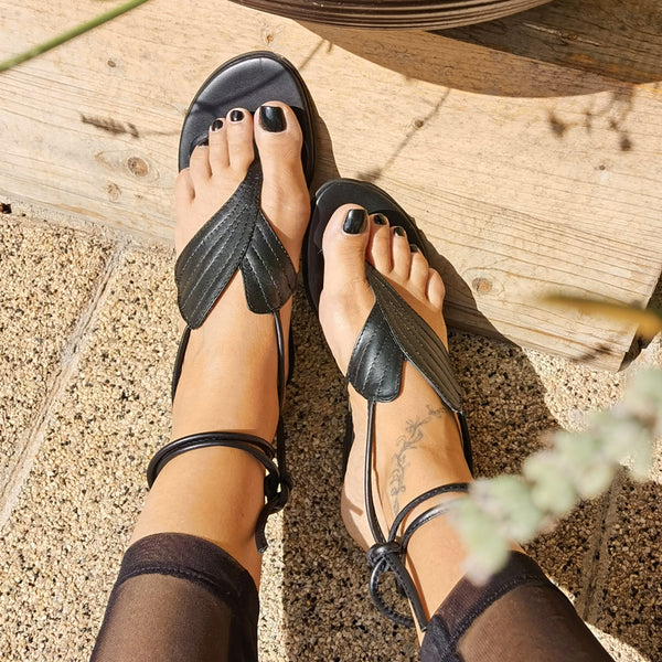 Leaves Anatomy- Black Flat Sandals