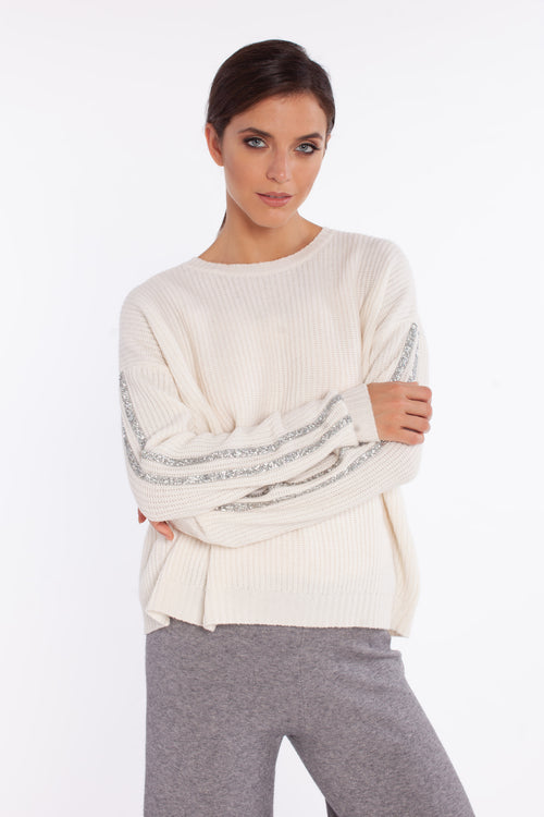 i love knitwear pullover white glittering