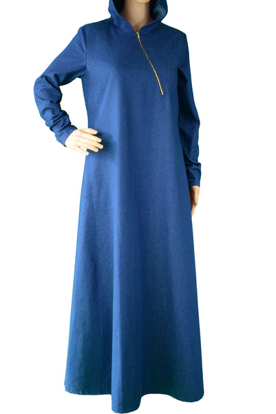 Gold Zippered Denim Abaya - Zadaru | Modest Abaya, Jilbab, Hijab Online Shopping