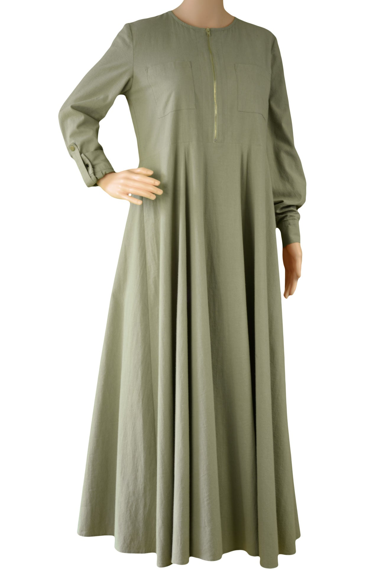 Earthy Rugged Green Abaya - Zadaru | Modest Abaya, Jilbab, Hijab Online Shopping