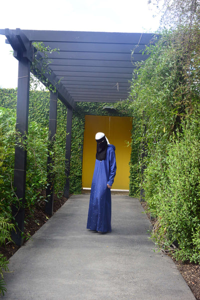 Pearled Denim Abaya - Wudu Friendly