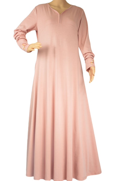 Embroided Tea Pink Abaya - Zadaru | Modest Abaya, Jilbab, Hijab Online Shopping