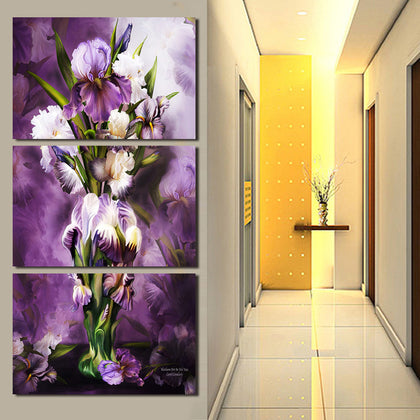 Purple and White Flowers Canvas Art 3 Piece