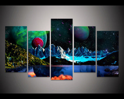 Northern Lights Space Canvas Art 5 Piece