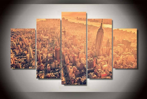 New York City Aerial View Canvas Art 5 Piece