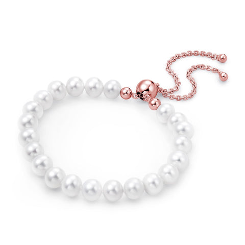 Freshwater Pearl Bracelet (Rose Gold Plated) - Woment Designer Jewelry