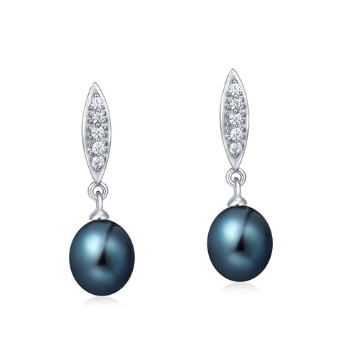 Freshwater Pearl Earrings (Black Pearl) - Woment Designer Jewelry