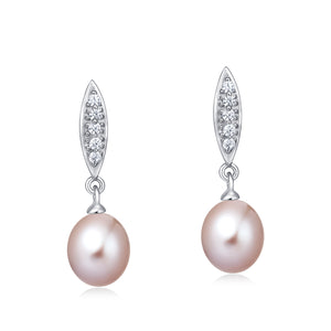 Freshwater Pearl Earrings (Pink Pearl) - Woment Designer Jewelry