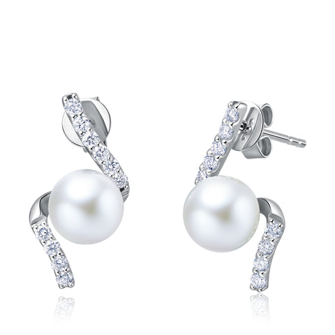 18K Gold Akoya Pearl Diamond Earrings - Woment Designer Jewelry