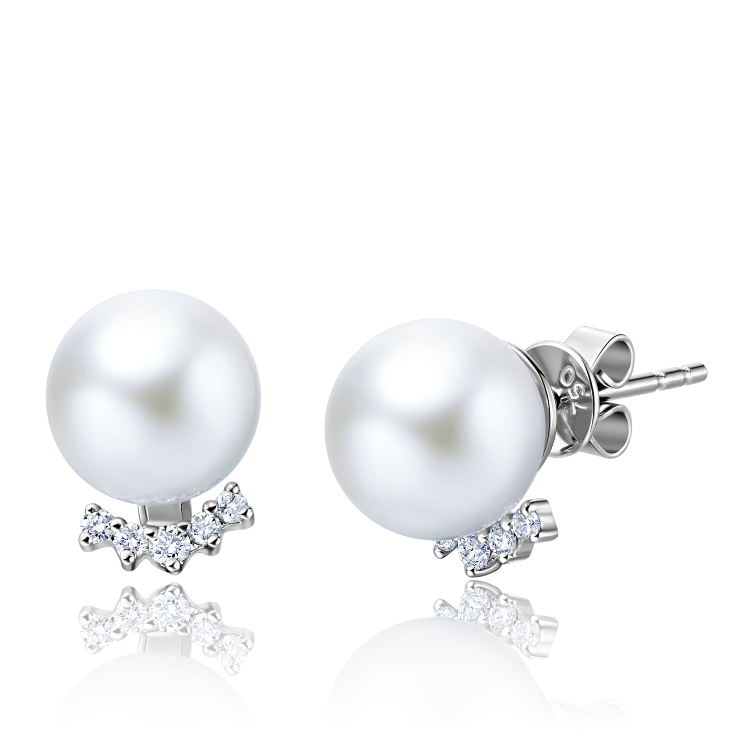 18KW Gold Akoya Pearl Earrings - Woment Designer Jewelry