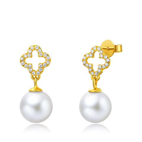 18KY Gold Akoya Pearl Earrings - Woment Designer Jewelry