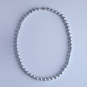 Natural Silver Grey Color Japan Akoya Pearl Necklace 7.5-8mm