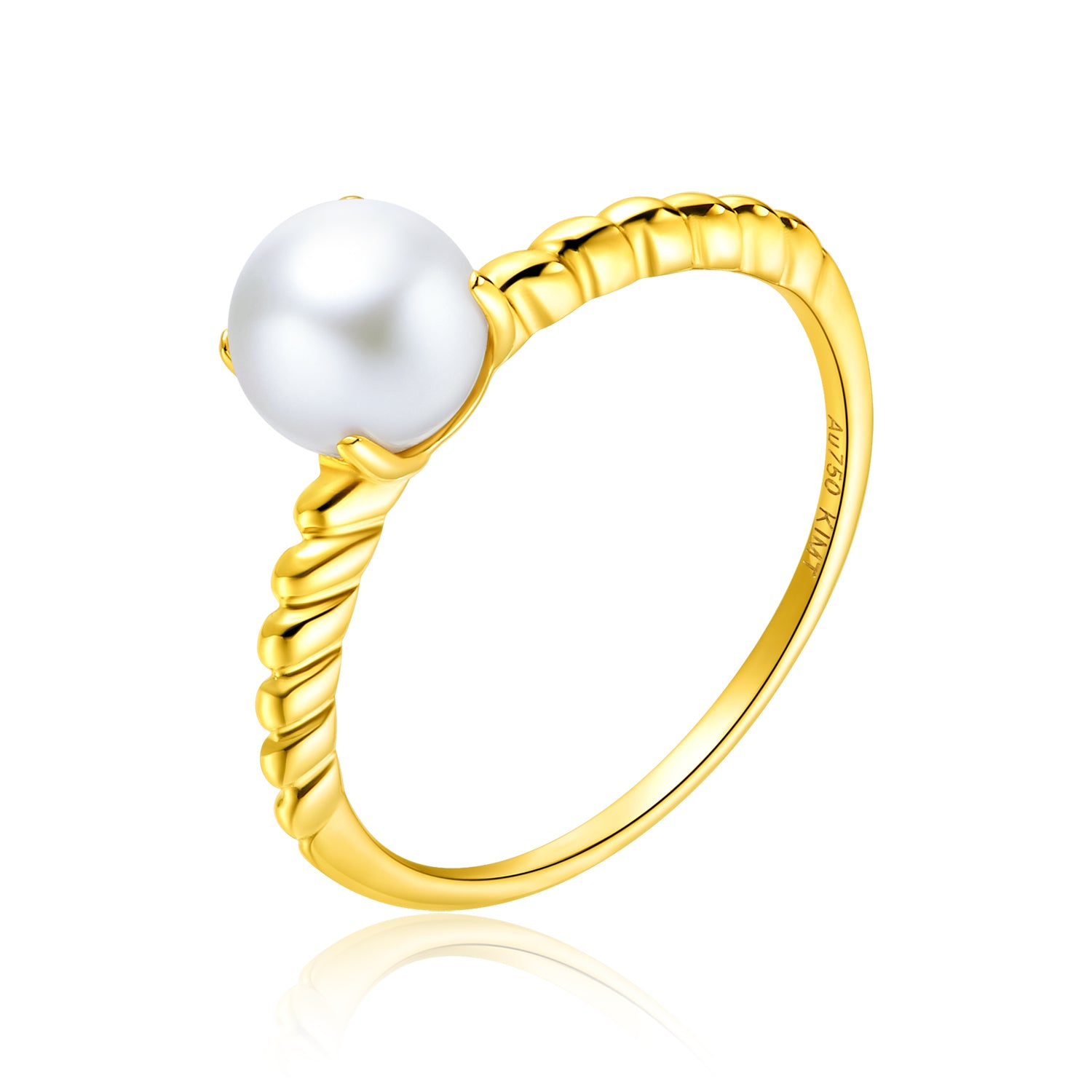 18KY Gold Akoya Pearl Ring - Woment Designer Jewelry