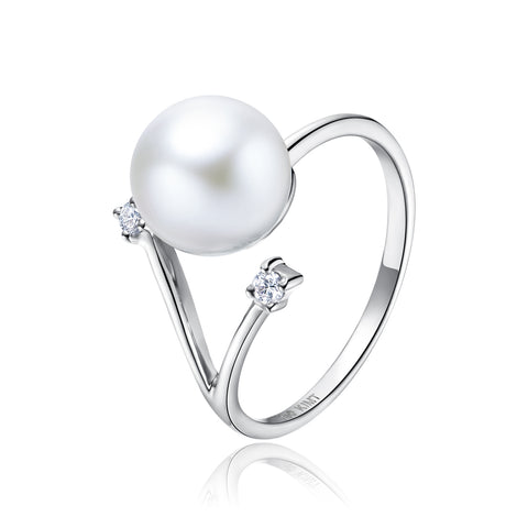 18KW Gold Akoya Pearl Ring - Woment Designer Jewelry