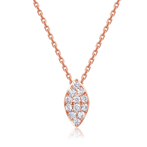18K ROSE GOLD NECKLACE WITH DIAMOND - Woment Designer Jewelry