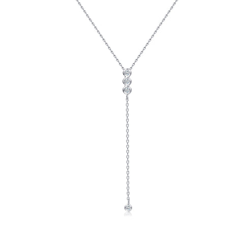 18K WHITE GOLD NECKLACE WITH DIAMOND - Woment Designer Jewelry
