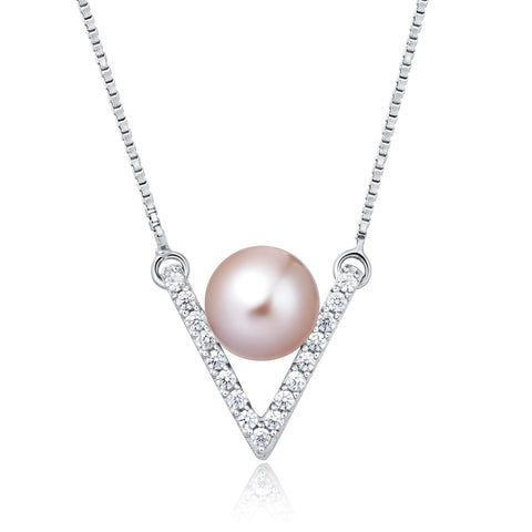 Freshwater Pearl Necklace (Pink Pearl) - Woment Designer Jewelry