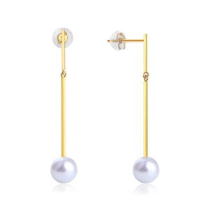 18K YELLOW GOLD EARRINGS WITH 7.5-8MM AKOYA PEARL - Woment Designer Jewelry