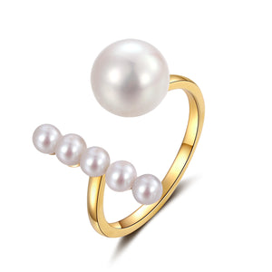 18K Yellow Gold Ring With Akoya Pearl - Woment Designer Jewelry