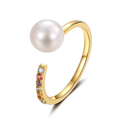 18K Yellow Gold Ring With 7-7.5 Akoya Pearl And Semi-Precious Stones - Woment Designer Jewelry