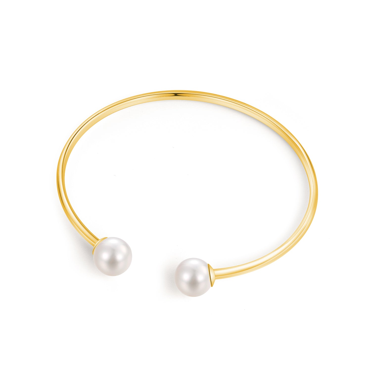 18K Yellow Gold Bangle With 8-8.5mm Akoya Pearl - Woment Designer Jewelry