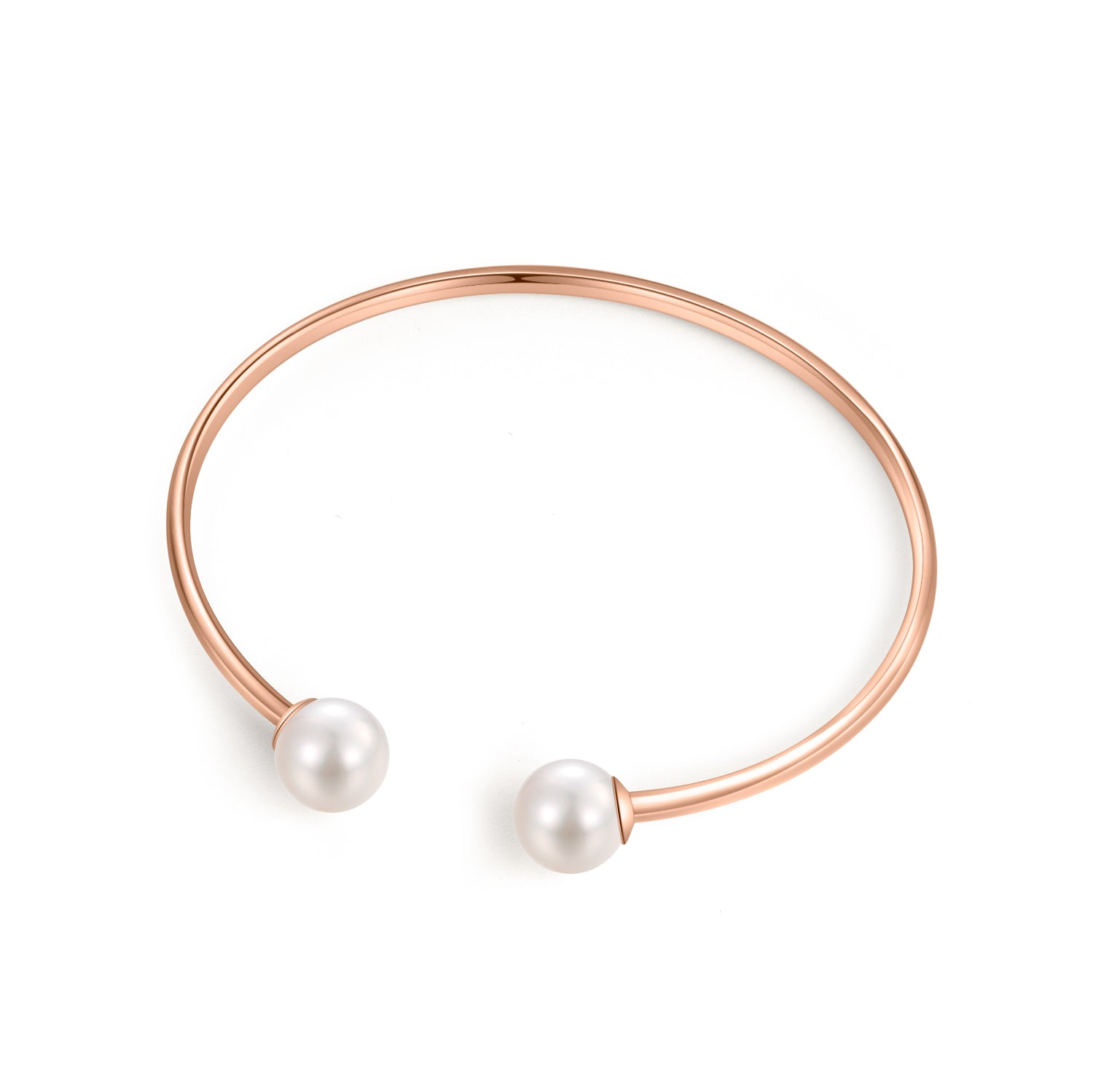 18K Rose Gold Bangle With 8-8.5mm Akoya Pearl - Woment Designer Jewelry